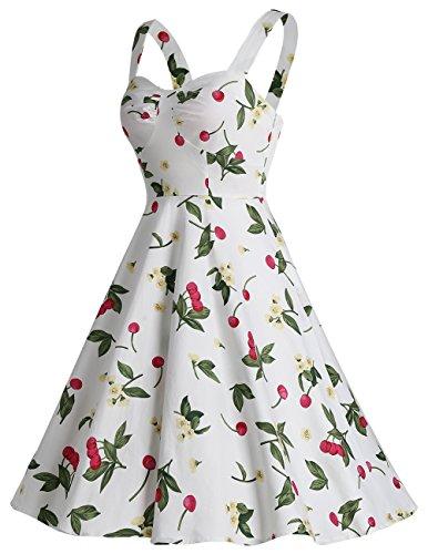 Dresstells Version5.0 Vintage 1950's Audrey Hepburn robe de soirée cocktail avec bretelles Blanc à fleur