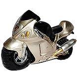 Spardose - Motorrad - silber / grau - stabile Sparbüchse aus Kunstharz - Führerschein - Bike / Fahrzeug / Biker / Rennserie - Fahrschule - Geld Sparschwein / Fahrzeuge - lustig witzig