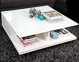Couch-Tisch weiß Hochglanz mit Schublade 100x100cm quadratisch | Carla | Moderner Wohnzimmer-Tisch mit Tischplatte aus Kristallglas weiss 100cm x 100cm