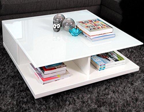 Couch-Tisch weiß Hochglanz mit Schublade 100x100cm quadratisch | Carla | Moderner Wohnzimmer-Tisch mit Tischplatte aus Kristallglas weiss 100cm x - Weiß Quadratischer Couchtisch