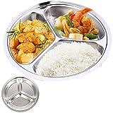 Piatto con divisori in acciaio inox Teerfu: set di 2vassoi, ideale per campeggio, pranzo e cena per bambini o uso quotidiano 10.2'' Silver