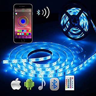 Bluetooth LED Strip Lights, ALED LIGHT 5050 16.4 ft/5 Meter 150 LED Stripes Lights Smart-Phone Controlled Waterproof RGB LED Band Light for Home&Outdoor Decoration