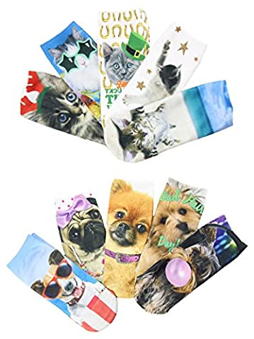 Women's 3D Funny Cotton Cute Animals Print Colorful Ankle Crew