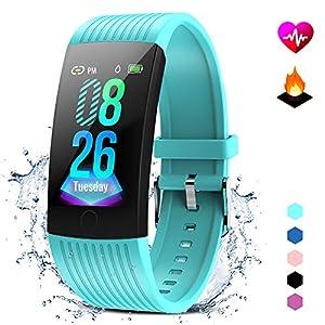 Aktivitätsarmband mit Herzfrequenz-Monitor, Smartwatch, Fitness-Tracker, Damen, Herren, Smart-Armband, wasserdicht, IP68, Stoppuhr, Weckerfunktion, Kamera-Steuerung, kompatibel mit iOS und Android