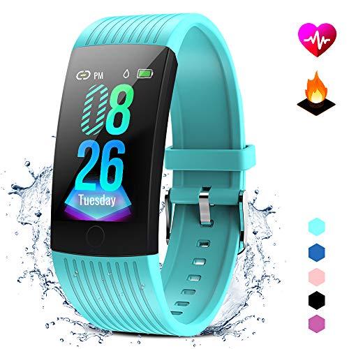 GOKOO Fitness Armband mit Pulsmesser Damen Herren Wasserdicht IP67 Fitness Tracker Smartwatch Aktivitätstracker Pulsuhr Schrittzähler Uhr Sportuhr für iPhone Android Handy (Cyan)