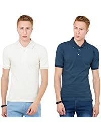 Thriller Frog Solid Men's Polo Neck White And Navy Blue T-Shirt