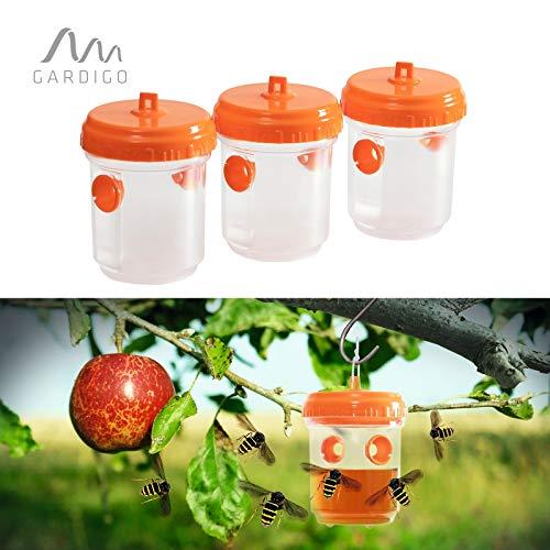 Gardigo Wespenfalle 3er Set I Wespenabwehr ohne Gift I Gegen Fruchtfliegen, Obstfliegen geeignet I 11x9,5 cm