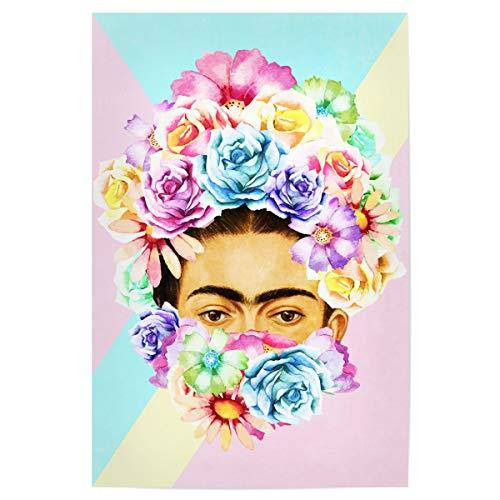 artboxONE Poster 45x30 cm Frida Kahlo Floral Floral Hipster - Bild Flowers Watercolor Watercolor Flowers -