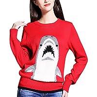 Mena Jersey De Manga Larga Con Cuello Redondo Y Estampado De Tiburones Para Mujer ( Color : Rojo , Tamaño : Metro )