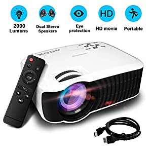 HD Vidéo Projecteur, Globmall Maison Cinéma Théâtre Projecteur T22, 2000 Lumens Vidéo LCD Projecteur 800 x 480 Résolution Support 1080p Full HD VGA HDMI USB SD AV Input Mini projecteur LED pour PC Laptop Jeu iPhone Andriod Smartphone TV Box