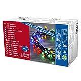 Konstsmide 3691-507 LED Globelichterkette mit runden Dioden / für Außen (IP44) /  24V Außentrafo / 80 bunte Dioden / schwarzes Kabel