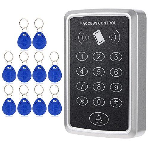 KKmoon RFID Karte Zutrittskontrollsystem Tastatur 125 KHz Einzelne Tür Proximity enthalten 10 Stücke ID Keyfobs Proximity Access Control System