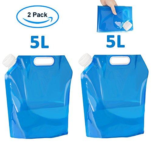 super vaule 2-Pack Wasserkanister Faltbar Tragbar Faltbarer Trinkwasser Wasserbehälter Wassertank für Wandern Camping Picknick Travel BBQ (5L+5L)
