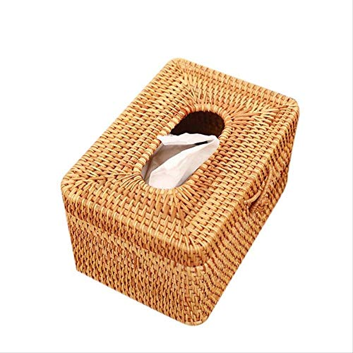 GLQA Taschentücherbox Papierhalter Rattan Woven Papierhandtuch Box Elegantes Auto Einzigartige Heimtextilien Handgemachte Tischplatte Tissue Container AufbewahrungsboxA -