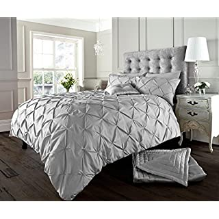 Lifestyle Production Designer Fancy Luxuries Alford/Pintuck Duvet Cover Sets Bedding Pillow Cases Single, Double, King, (Super King, Silver/Grey)