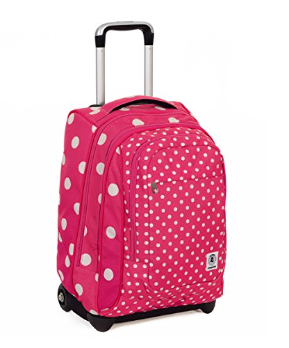 Trolley invicta - extra - bump - rosa - bianco - 45 lt spallacci a scomparsa! uso zaino scuola e viaggio