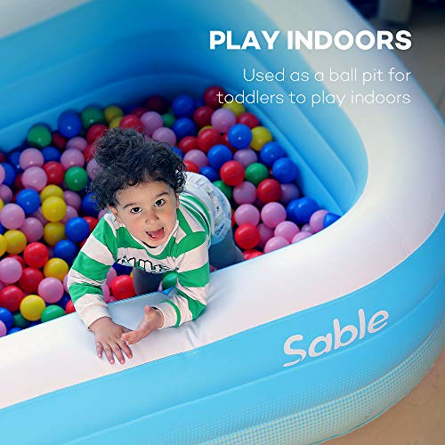 Family Adults for Kids Backyard Sable Inflatable Paddling Pool Rectangular Blue /& White Indoor /& Outdoor with Cloth 234 x 142 x 51 cm