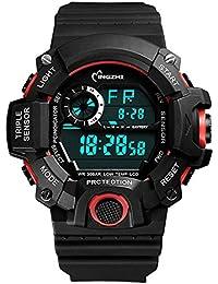 Student Sport Watches Boys Outdoor Waterproof Shock Resistant LED Multifunctional Wrist Watches (noir/rouge)