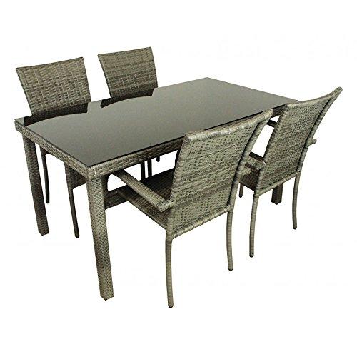 AVANTI TRENDSTORE - Arezzo - Set da giardino in rattan sintetico, incl. Tavolo e 4 sedie, ca. 150x75x80 cm