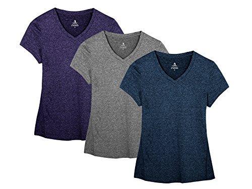 icyzone Sport T-Shirt Damen Kurzarm Laufshirt - Trainingsshirt Fitness Shirt Oberteile V Ausschnitt (M, Royal Blue/Purple/Charcoal/)