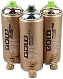 spruehdosen Set Montana Oro Argento, Rame e Oro Chrome 3X 400Ml con ricambio teste a spruzzo
