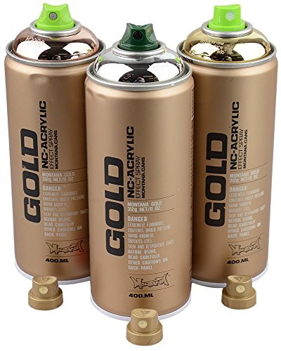 Sprühdosen Set Montana Gold Silber-, Kupfer-, und Goldchrome 3x400ml inkl. Ersatzsprühköpfe -