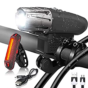 Flybiz Luce Bicicletta LED,Set di luci per la Bicicletta,Luce Bici Anteriore e Posteriore Ricaricabile USB Impermeabile…
