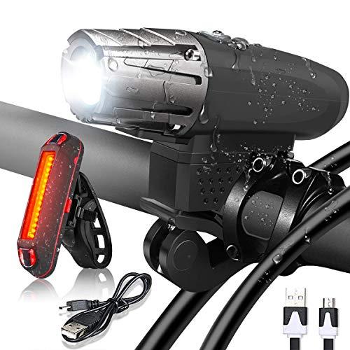 Flybiz Luce Bicicletta LED,Set di luci per la Bicicletta,Luce Bici Anteriore e Posteriore Ricaricabile USB Impermeabile, Illuminazione 1200mAh Batteria al Litio, 4 modalità di Illuminazione