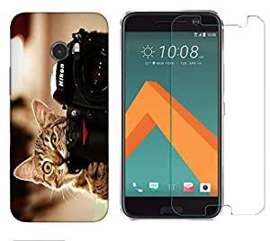 Snoogg Cat And Camera Combo Designer Protective Back & Shatter Proof Tempered Glass For HTC DESIRE 10 LIFESTYLE