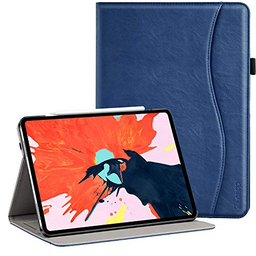Ztotop Hülle für iPad Pro 12.9 Zoll 2018,Unterstützt Das Aufladen des iPad Stift,Premium Leder Leichte Geschäftshülle mit Ständer,Kartensteckplatz,Auto Schlaf/Aufwach Funktion,Mehrfachwinkel,Navy Blau