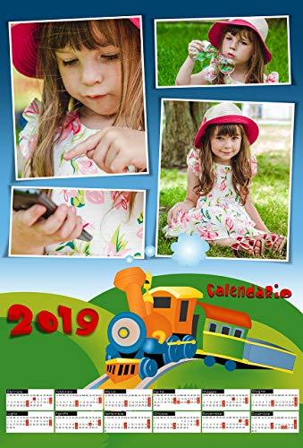 Personalisierter Kalender 2019 von 1 Seite mit 4 Fotos 30 x 45 cm mit Bären und Wandhaken.