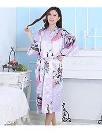 ZC&J Camisón de verano de señora casa albornoz transpirable comodidad sedoso satén kimono bata corto albornoz cómodo pijama,Shallow purple,XXXL
