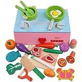 Juguete interesante para niños Mini juego de juego de cocina para niños de madera Estufa Estufa con horno y juego de cocina con utensilios de cocina Juego de juguetes de comida Juguetes condimentados