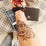 LZC 15x21cm tatuaggi tatuaggio temporanei impermeabile Adulti della spalla braccio grande e reale Decorazione del partito Vacanze Shoulder Tattoos Hombre y Mujer Uomo e donna Nero - Orologio e croce
