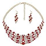Yazilind Collier Cristal Femmes Strass Rouge et Boucles d'oreilles Déclaration Choker Collier Jewelry Set