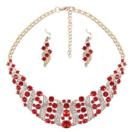 YAZILIND Frauen Red Strass-Kristall-Halskette und Ohrring-Set Statement-Kragen-Schmuck-Set