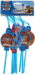 Patrulla Canina - Pajitas de plástico, 8 unidades, color azul (Amscan 999140)