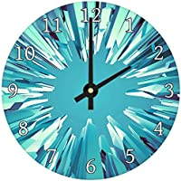 Teal Blue White Modern Abstract Glass Large Kitchen Bedroom Wall Clock