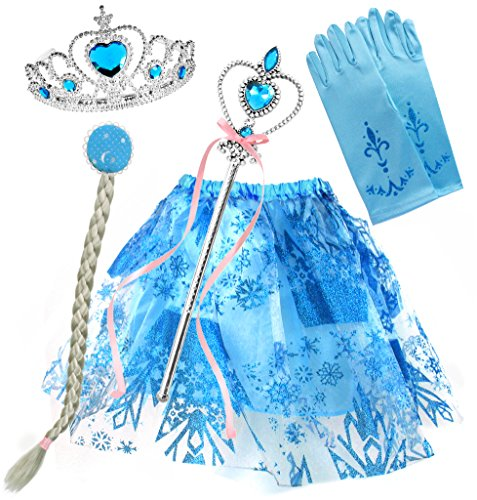 Prinzessin Eiskönigin Diadem Zauberstab Kostüm Set Krone Zopf Tüllrock (Kostüm Anna Und Elsa Tutu)