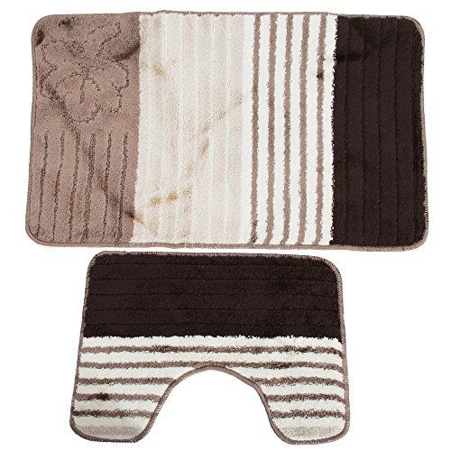 Universal-Textiles Streifen und Blumen Muster Design Badematten Set 2-teilig (50cm x 80cm)...