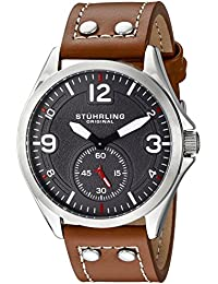 Stuhrling Original Men's Quartz Watch with Grey Dial Analogue Display and Brown Leather Strap 684.02