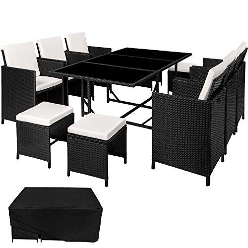 TecTake Ensemble Salon de jardin en Résine Tressée Poly Rotin Table Set 6+1+4 + Housse de Protection | Vis en Acier Inoxydable - diverses couleurs au choix - (Noir | no. 402097)