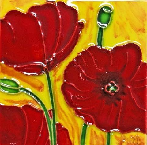 Continental Art Center sd-0054von 4-Zoll rot Poppy Keramik Art Tile