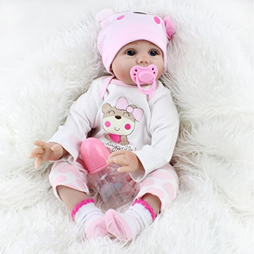 autone 55,9cm 55cm Baby Puppe, weiches Vinyl aus Silikon Lovely lebensecht Cute Baby Boy Girl Spielzeug, Pink Süße Mädchen Schlafendes Baby Puppe (Br-baby-puppe)