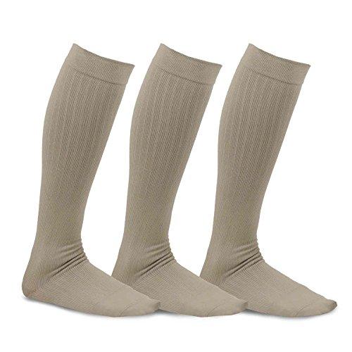 teehee viscosa de bambú rodilla alta calcetines de compresión con Rib 3unidades
