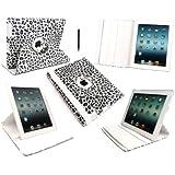 Emartbuy Neue iPad 3 & Apple iPad 2 - Bundle Pack von Black Stylus + LCD Displayschutz + Leopard Weiß / Grau Multifunktionale / Multi Angle Rotierende Folio / Cover / Stand / Typing Case mit magnetischen Schlaf Wake-Sensor (Alle Versionen Wi-Fi und Wi- Fi + 3G/4G - 16GB 32GB 64GB)