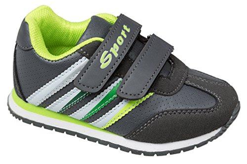 GIBRA® Kinder Sportschuhe, dunkelgrau/neongrün, Gr. 26-36 Anthrazit/Neongrün