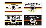 Deutschland Fahnen Set 4 Sterne ca. 90 x 150 cm - Weltmeister 2014 - 4 Fahnen im Set