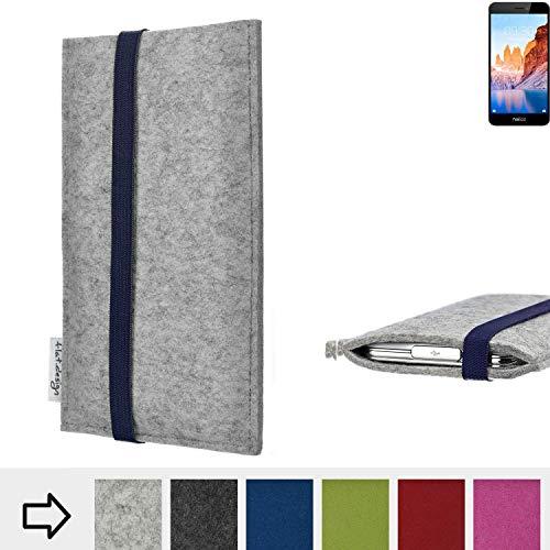 flat.design Handyhülle Coimbra mit Gummiband-Verschluss für TP-LINK Neffos C7A - Schutz Case Etui Filz Made in Germany in hellgrau blau - passgenaue Handy Tasche für TP-LINK Neffos C7A