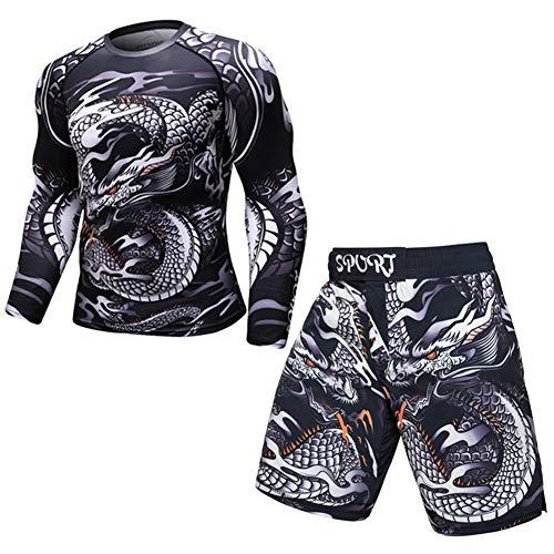 OBHDGVWN Neue UFC MMA Workout Kompresse Männer T-Shirt mit Langen Ärmeln BJJ 3D Fitness Strumpfhosen Männer Rashguard T-Shirt + Hose Herrenbekleidung @ style6_L -